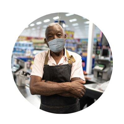 grocery store worker wearing mask